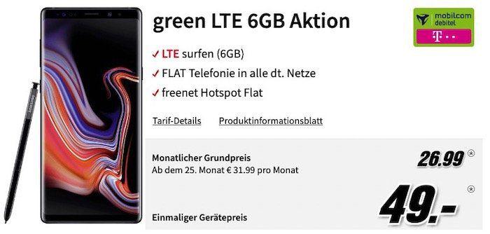TOP! Samsung Galaxy Note 9 für 49€ + Telekom Allnet Flat mit 6GB LTE für 26,99€ mtl.