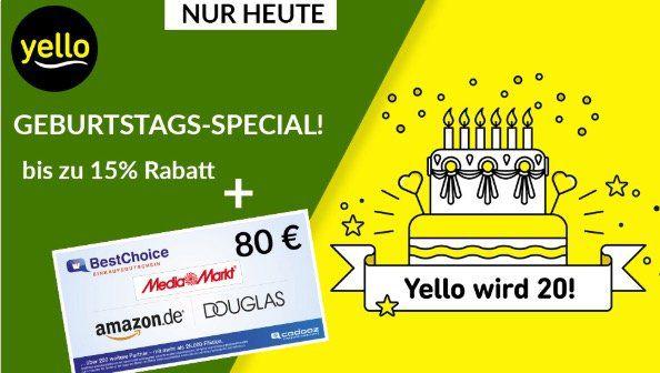 *nur heute* Yello Basic Stromangebote mit bis 15% Rabatt + 80€ BestChoice Gutschein