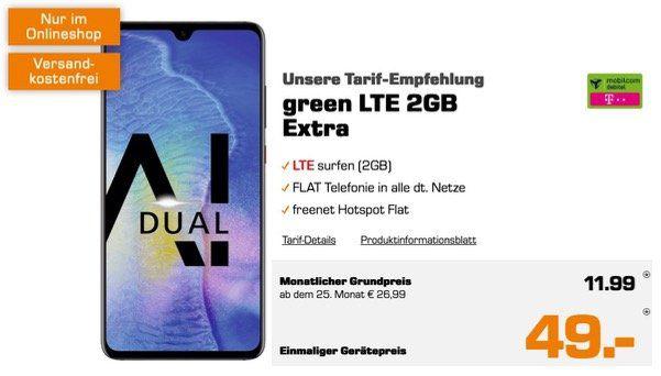 Huawai Mate20 für 49€ mit Allnet Flat mit 2GB LTE im Vodafone oder Telekom Netz für 11,99€ mtl.