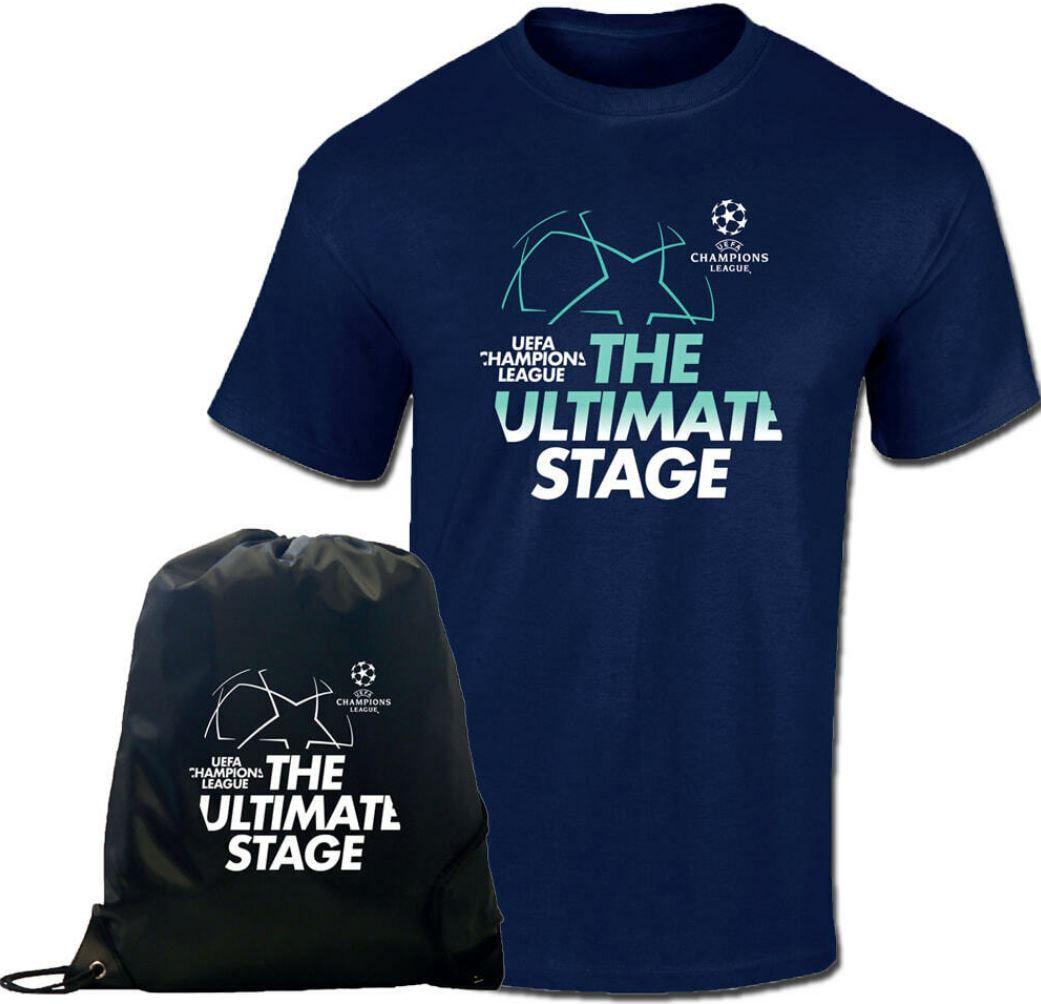 UEFA Champions League blaues T Shirt bis 3XL + schwarzer Gymsack für 24,95€ (statt 30€)