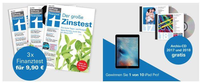 3 Ausgaben Finanztest für 9,90€ + Archiv CD 2018 und 2019 gratis