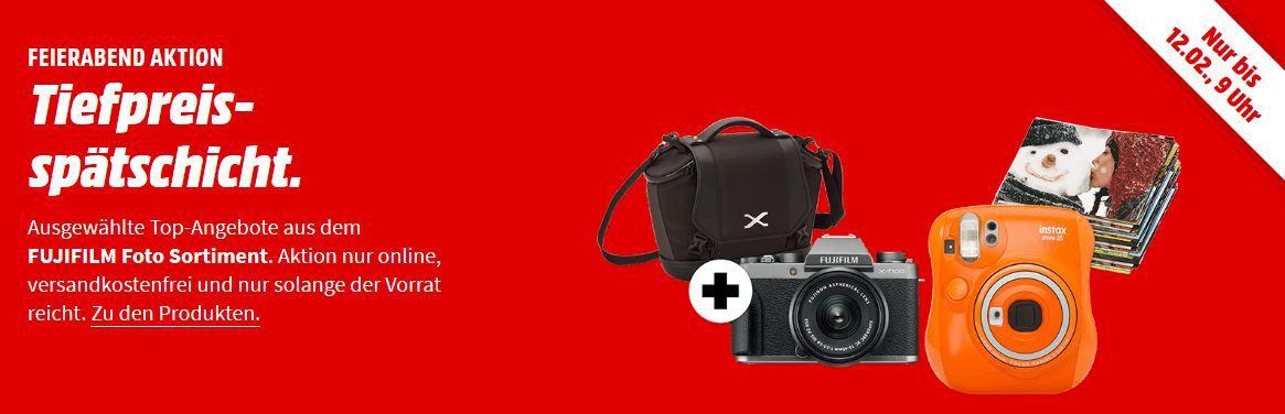 Media Markt Foto Tiefpreisspätschicht   z. B. FUJIFILM X T100 Systemkamera + Tasche für 555€ (statt 652€)