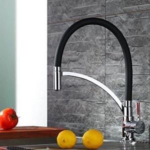Homelody Wasserhahn mit 360° drehbarer Spiralfederarmatur in Schwarz für 42,99€ (statt 72€)