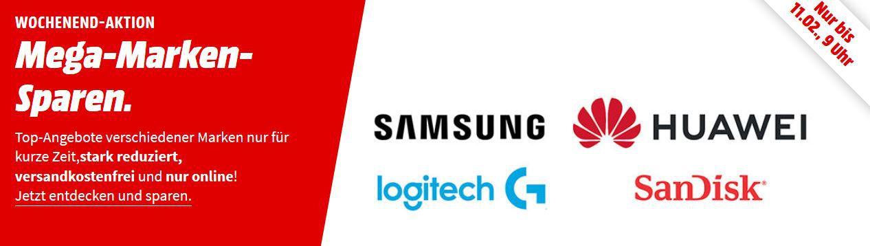Media Markt Mega Marken Sparen: günstige Artikel von Samsung, Huawei, Logitech, SanDisk und Asus