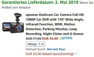 Top! Apeman Dashcam C660 mit Full HD 1080P und Infrarot Funktion für 44,99€ (statt 78€)