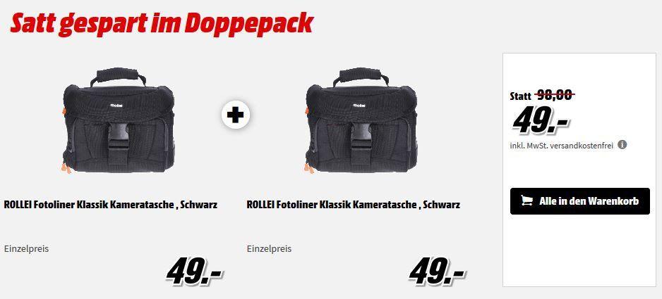 Schnell: ROLLEI Fotoliner Klassik Kameratasche Doppelpack für 49€ (statt 82€)