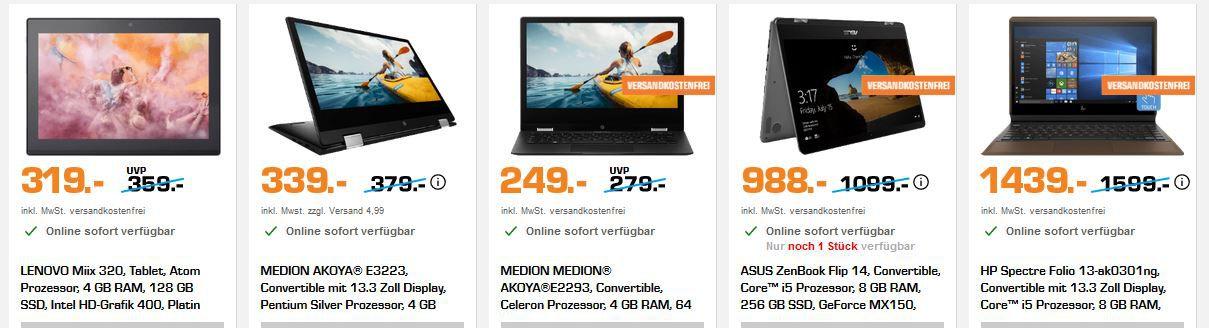 Saturn IT Einzelposten Sale: günstige Notebook, Monitore, Convertibles, Tablets und vieles andere mehr