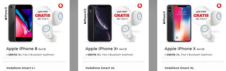 Handyflash Weekend Flash: z.B. Apple iPhone 8 + JBL Free X für 4,95€ & Vodafone Flatrate mit  7GB Daten für 36,99€ mtl.