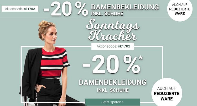 Karstadt Sonntags Kracher mit 20% Rabatt auf Damenbekleidung oder 15% auf Reisegepäck