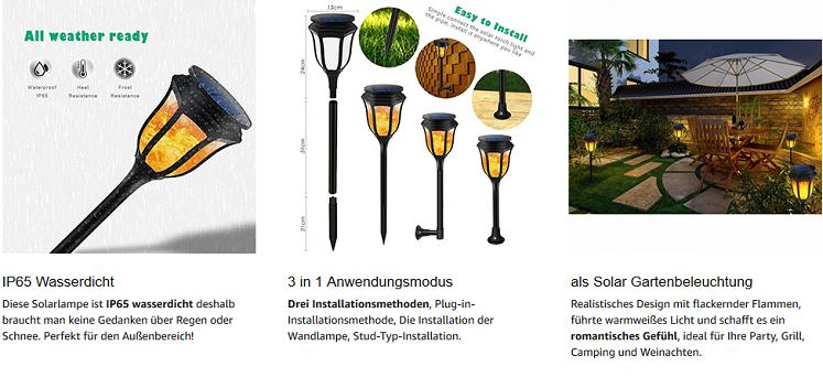 B right Solarfackeln für den Garten im Doppelpack mit 96 warmweißen LEDs für je 27,49€ (statt 55€)