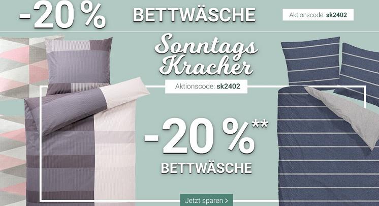 Karstadt Sonntags Kracher mit 20% auf Bettwäsche & Outdoorbekleidung oder 15% auf Herrendüfte, Hosen & Schmuck