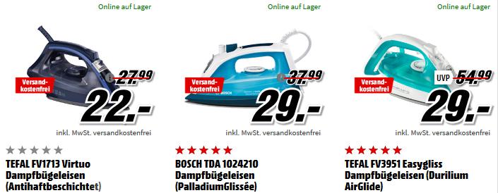 Artikel zum Nähen und Bügeln bei Media Markt   z.B. Tefal FV1713 Dampfbügeleisen für 22€ (statt 30€)