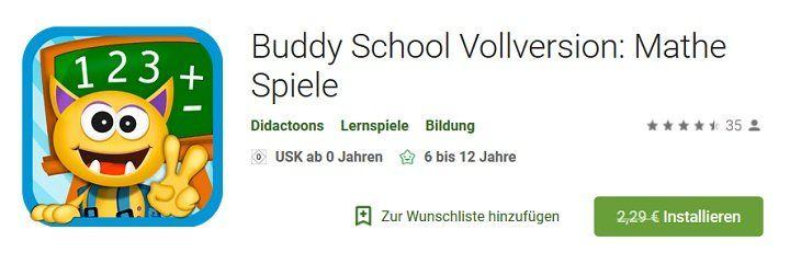 Android App: Buddy School Vollversion: Mathe Spiele gratis (statt 2,29€)