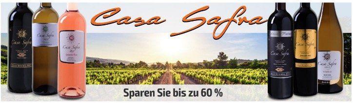 Weinvorteil: Casa Safra Wein Sale mit 50% Rabatt   dazu mit Gutscheine noch 1€ pro Flasche