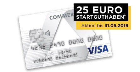 Prepaid Kreditkarte Commerzbank (im 1. Jahr kostenlos) + bis Ende Mai: 25€ Startguthaben geschenkt