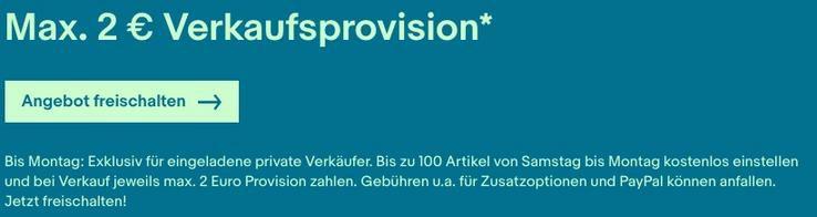 eBay Verkaufsaktion: Max. 2€ Verkaufsprovision für eingeladene Verkäufer bis Mitternacht   max 100 Artikel