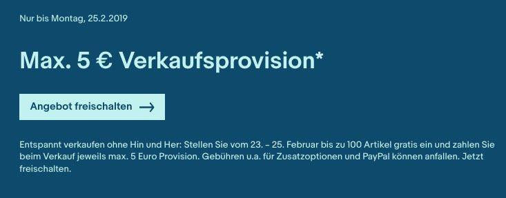 eBay Verkaufsaktion: Max. 5€ Verkaufsprovision bis Sonntag   max 100 Artikel