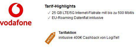 Vodafone DataGo mit 12GB oder 25GB LTE/5G (bis 500 Mbit/s) ab 12,07€ mtl. dank Auszahlung