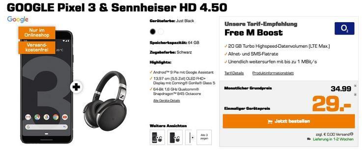 Google Pixel 3 + Sennheiser HD4.50 für 29€ mit Allnet Flat O2 Free M Boost mit fetten 20GB LTE mtl. 34,99€