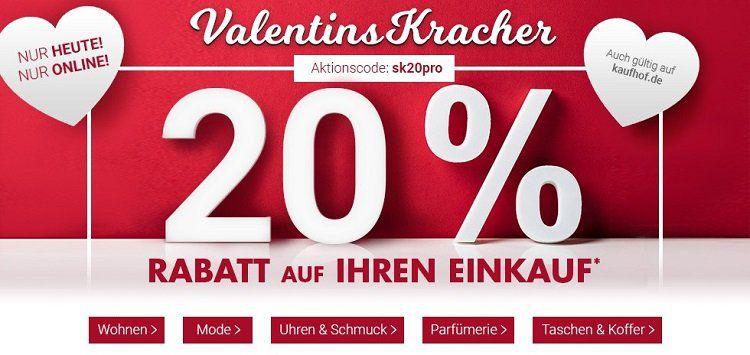 Karstadt Valentinskracher mit 20% Rabatt auf zahlreiche Produkte