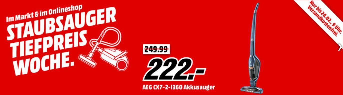 MM Top Staubsauger Tiefpreiswoche   letzter Tag z.B.: AEG CX7 X Flexibility CX7 2 I360 Stielsauger für 222€ (statt 247€)