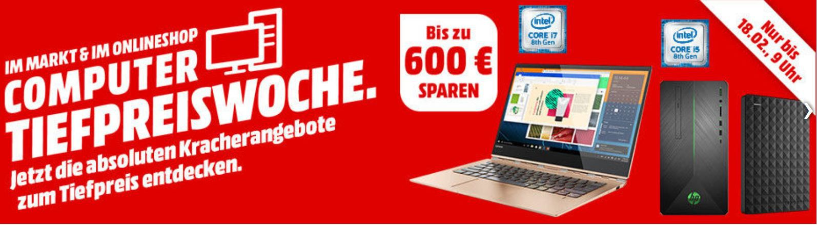 MM Top Computer Tiefpreiswoche: letzter Tag z.B.: LENOVO Yoga 920 Convertible i7, 512 GB SSD, 8 GB RAM für 1.399€ (statt 1.700€)