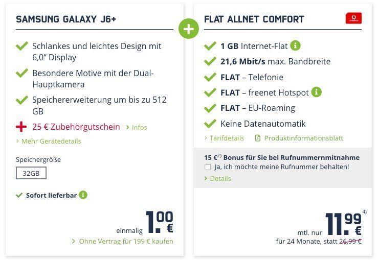 Samsung Galaxy J6+ für 1€ + Allnet Flat im Vodafone Netz mit 1GB ohne LTE nur 11,99 mtl.