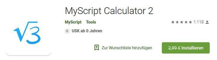 Android: MyScript Calculator 2 kostenlos (statt 2,99€)