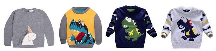 Kinder Dinosaurier Pullover aus 100% Baumwolle für nur 9,49€ inkl. Versand bei Prime