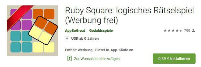 Android: Ruby Square kostenlos (statt 0,89€)