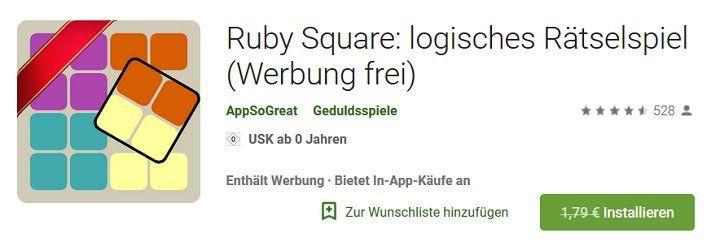 Android App: Ruby Square kostenlos (statt 1,79€)