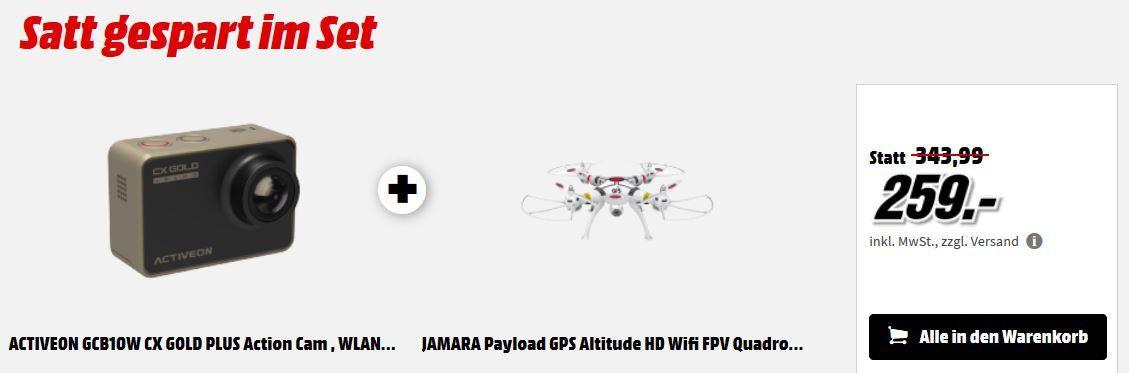 Media Markt Foto Late Night Aktion: günstiges Foto Zubehör   z.B. ACTIVEON GCB10W Action CAM + Jamara Quadrocopter für 259€ (statt 295€)