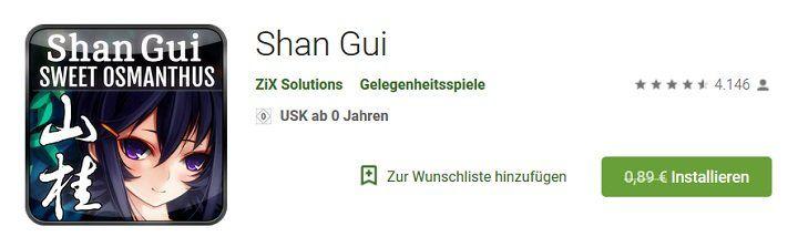 Android: Gratis Shan Gui (statt 0,89€)