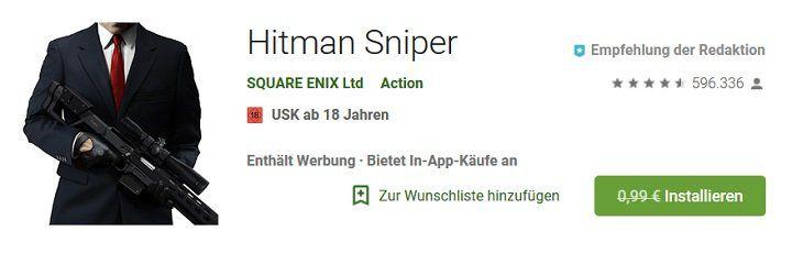 Kostenlose Android App Hitman Sniper (statt 0,99€)