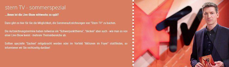 Freikarten für SternTV   sommerspezial in Hürth für Juni und Juli