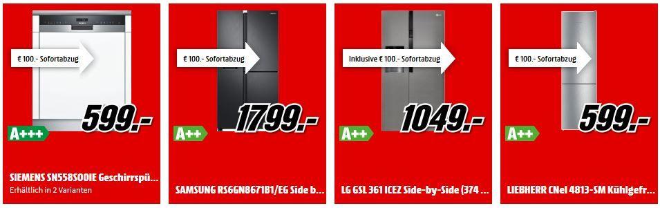 Media Markt 100€ Sofortrabatt auf Große Haushaltsgeräte ab 499€   z.B. LIEBHERR CNel 4813 SM Kühlgefrierkombination ab 499€ (statt 689€)