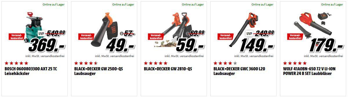 Media Markt Garten Tiefpreisspätschicht: z.B. BLACK+DECKER GW 2500 QA elektro Laubsauger für 49€ (statt 55€)