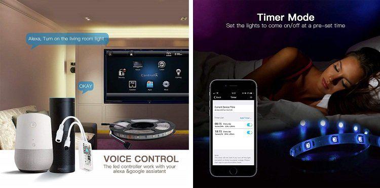 HaoDeng Smart LED Streifen (kompatibel mit Alexa, Google Home) für 15,49€ (statt 31€)