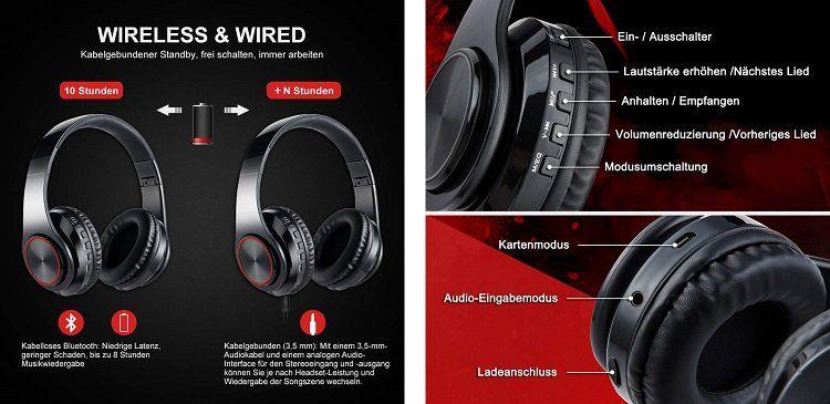 Ruicer Bluetooth Kopfhörer mit LED Beleuchtung für 22,19€ (statt 37€)