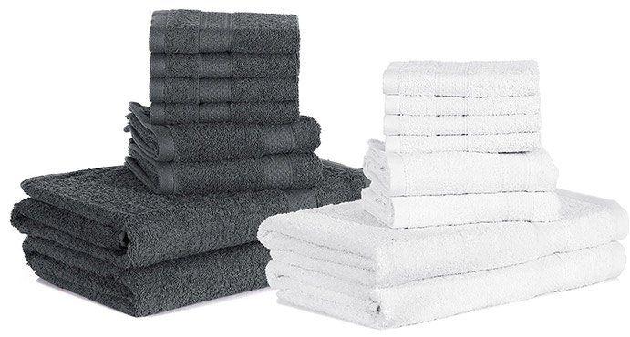 Handtuchset (8tlg) in Grau oder Weiß für je 15,99€