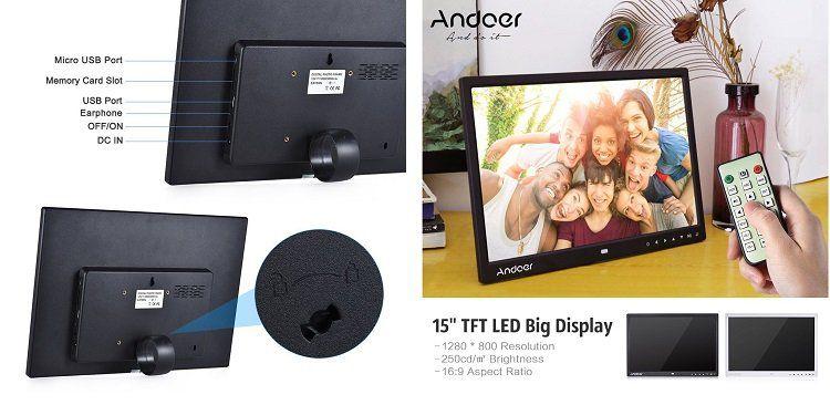 Andoer 15 LCD Bilderrahmen (1280 x 800 px) mit Uhr, MP3, MP4 & Fernbedienung für 50,39€ (statt 84€)