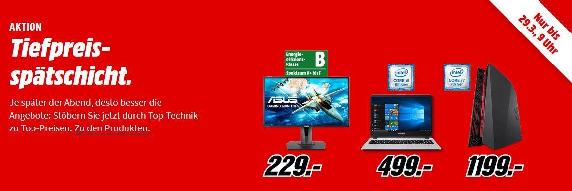 💻 Media Markt Asus Tiefpreisspätschicht: günstige Notebooks, Convertibles und Monitore bis 9Uhr
