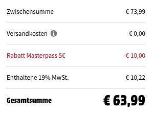 Media Markt & Saturn: bis zu 15€ Rabatt bei Zahlung via Masterpass auf ausgewählte Produkte