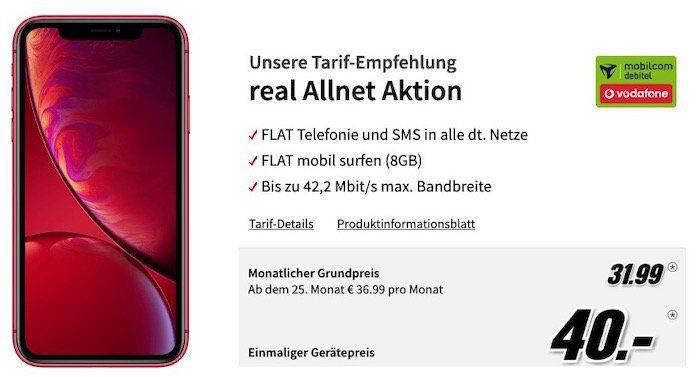 iPhone XR in vielen Farben für je nur 40€ + Vodafone Allnet Flat mit 8GB für 31,99€ mtl.