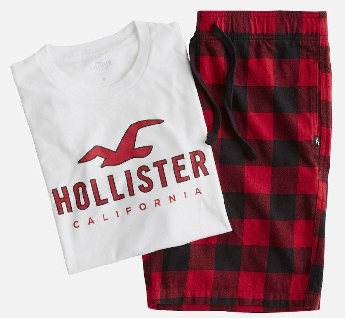 Hollister Herren Pyjama (T Shirt + kurze Hose) für 26,91€