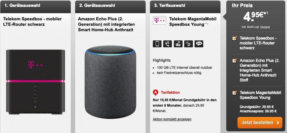 Telekom MagentaMobil Speedbox mit 100GB LTE ab 27,45€ mtl. + Speedbox LTE Router & z.B. Amazon Echo Plus (2. Gen.) für 4,95€