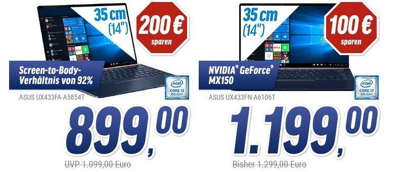 Asus Zenbook Ultrabooks zu Bestpreisen   z.B. ZenBook 14 UX433FA für 899€ (statt 965€)
