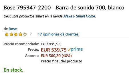 Bose Soundbar 700 in Weiß für 542,34€ (statt 655€)   genau lesen!