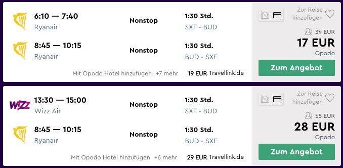 Hin  und Rückflüge nach Budapest ab 17€