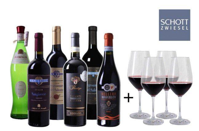 6 Flaschen Wein Probierpaket aus Italien + 4 Weingläser für 49,14€